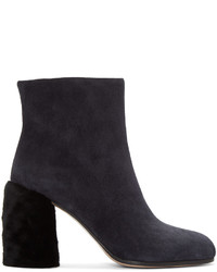Miu Miu Navy Suede And Shearling Boots