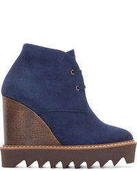 Stella McCartney Navy Suede Ankle Boots