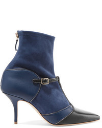 Malone Souliers Sadie Suede And Leather Sock Boots Navy
