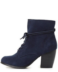 Charlotte Russe Slouchy Lace Up Ankle Boots