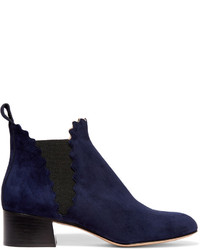 Chloé Suede Scalloped Ankle Boots Midnight Blue