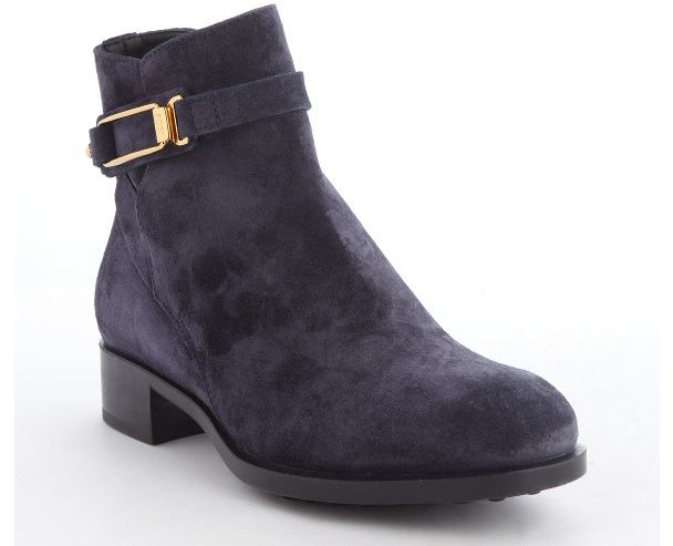tod s blue suede gold buckle side zip ankle boots where