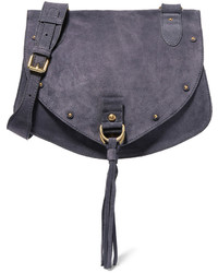See by Chloe See By Chlo Collins Medium Suede And Textured Leather Shoulder Bag Navy