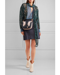 006d0679dd890 ... See by Chloe See By Chlo Hana Small Textured Leather And Suede Shoulder  Bag Midnight Blue ...