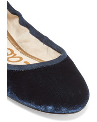 4fd53b144b3f ... Sam Edelman Fynn Suede And Leather Trimmed Velvet Ballet Flats Midnight  Blue ...