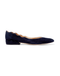 Chloé Laurena Scalloped Suede Ballet Flats