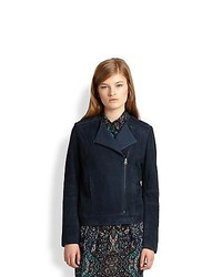 See by Chloe Suede Moto Jacket Dark Blue
