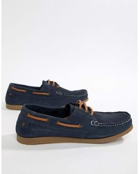 Dune Boat Shoes In Navy Suede