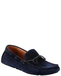 Bottega Veneta Dark Navy Intrecciato Suede Boat Stitched Slip On Driving Loafers