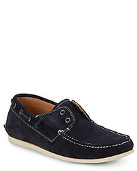 John Varvatos Schooner Perforated Suede Boat Shoes