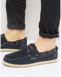 Silver Street Boat Shoes In Navy Suede