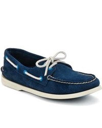 Sperry Topsider Shoes Cloud Logo Authentic Original 2 Eye Boat Shoe Navy Perforated Suede