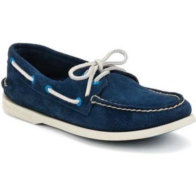 2 Eye Boat Shoe Navy Perforated Suede