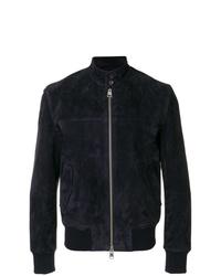AMI Alexandre Mattiussi Suede Leather Zipped Jacket Harrington Collar