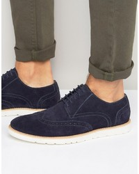 Frank Wright Brogues In Navy Suede
