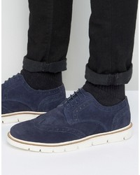 Frank Wright Brogues Navy Suede