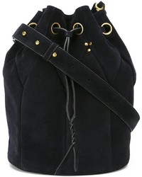 Navy Suede Bucket Bag