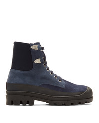 Toga Virilis Blue Suede Lace Up Boots