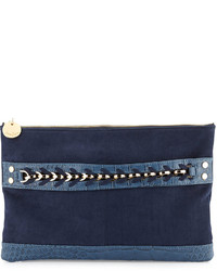Navy Suede Clutch