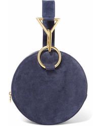 Tara zadeh azar suede clutch navy medium 7010293