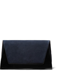 Uptown suede and patent leather clutch navy medium 3700614