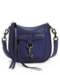 Rebecca Minkoff Dog Clip Leather Suede Saddle Bag Blue