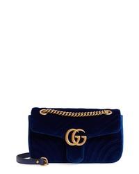 Gucci Medium Gg Marmont 20 Matelasse Velvet Shoulder Bag