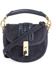 Mini braided top handle saddle bag blue medium 3697649