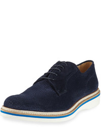 Bugatchi Lazio Perforated Suede Derby Blue