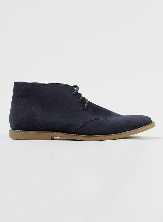 ... Topman Navy Trigger Suedette Lace Up Chukka Boots