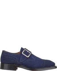 Bettanin Venturi Cap Toe Monk Strap Shoes Blue