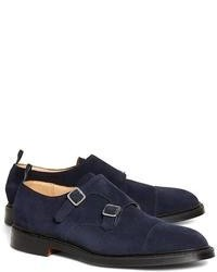 Brooks Brothers Navy Suede Double Monk Strap
