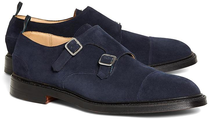 7bc039195b1a ... Brooks Brothers Navy Suede Double Monk Strap ...
