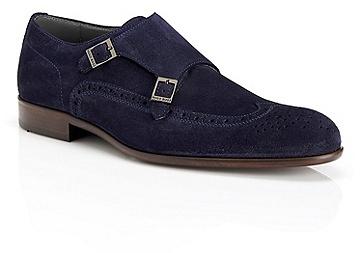 92b2eee2020 ... Hugo Boss Brostio Italian Suede Double Monk Strap Dress Shoe Dark Blue