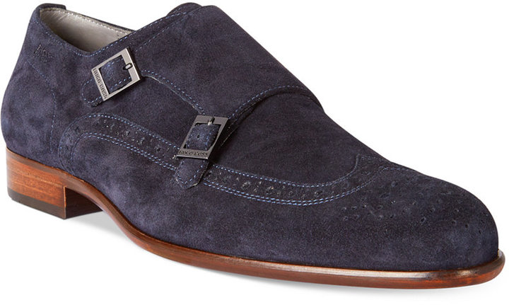 27ec5ee44098 ... Navy Suede Double Monks Hugo Boss Brostio Suede Monk Strap Shoes ...