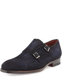 Magnanni For Neiman Marcus Suede Double Monk Loafer Navy