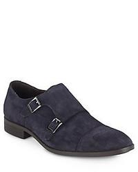 Saks Fifth Avenue Suede Monk Strap Dress Shoes