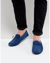 Asos Driving Shoes In Blue Suede