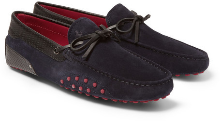 0097bf40987 ... Navy Suede Driving Shoes Tod s Ferrari Gommino Suede And Leather  Driving Shoes ...