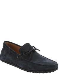 Tod's Green Suede Tie Detail Moc Toe Driving Loafers