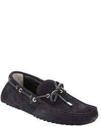 Fendi Moss Navy Calfskin Suede Self Tie Driving Loafers