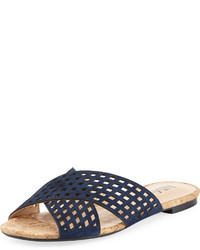 Neiman Marcus Delanna Perforated Slide Flat Sandal Blue