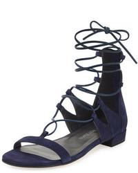 Stuart Weitzman Tieup Suede Flat Gladiator Sandal Baltic Blue