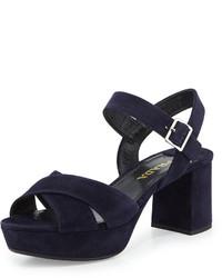 76955ccee65a ... Prada Crisscross Suede Platform Sandal Bleu