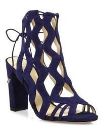 Alexandre Birman Loretta Suede Block Heel Cage Sandals