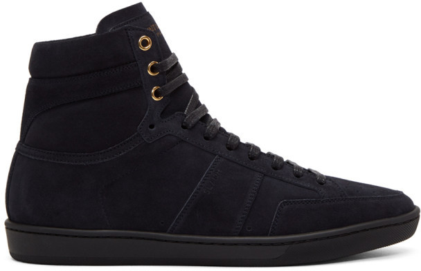 ... Saint Laurent Navy Suede Court Classic Sl 10h High Top Sneakers ...