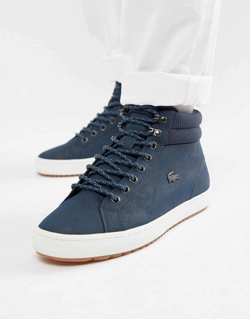 32effab39 Straightset Insulate C 318 1 Chukka Boots In Navy. Navy Suede High Top  Sneakers by Lacoste