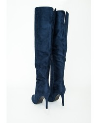 Missguided Kate Faux Suede Knee High Heeled Boots Navy  Where to