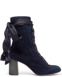 Chloé Lace Up Suede Ankle Boots Midnight Blue