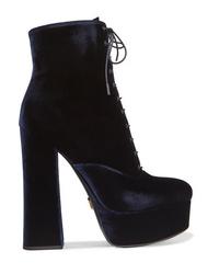 Prada Velvet Platform Ankle Boots